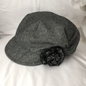 Grey Hat with Flower Rosette